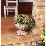 FLOWER POT CONCRETE w/FLOWERS H3P-01