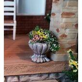 FLOWER POT CONCRETE w/FLOWERS POT-48GY