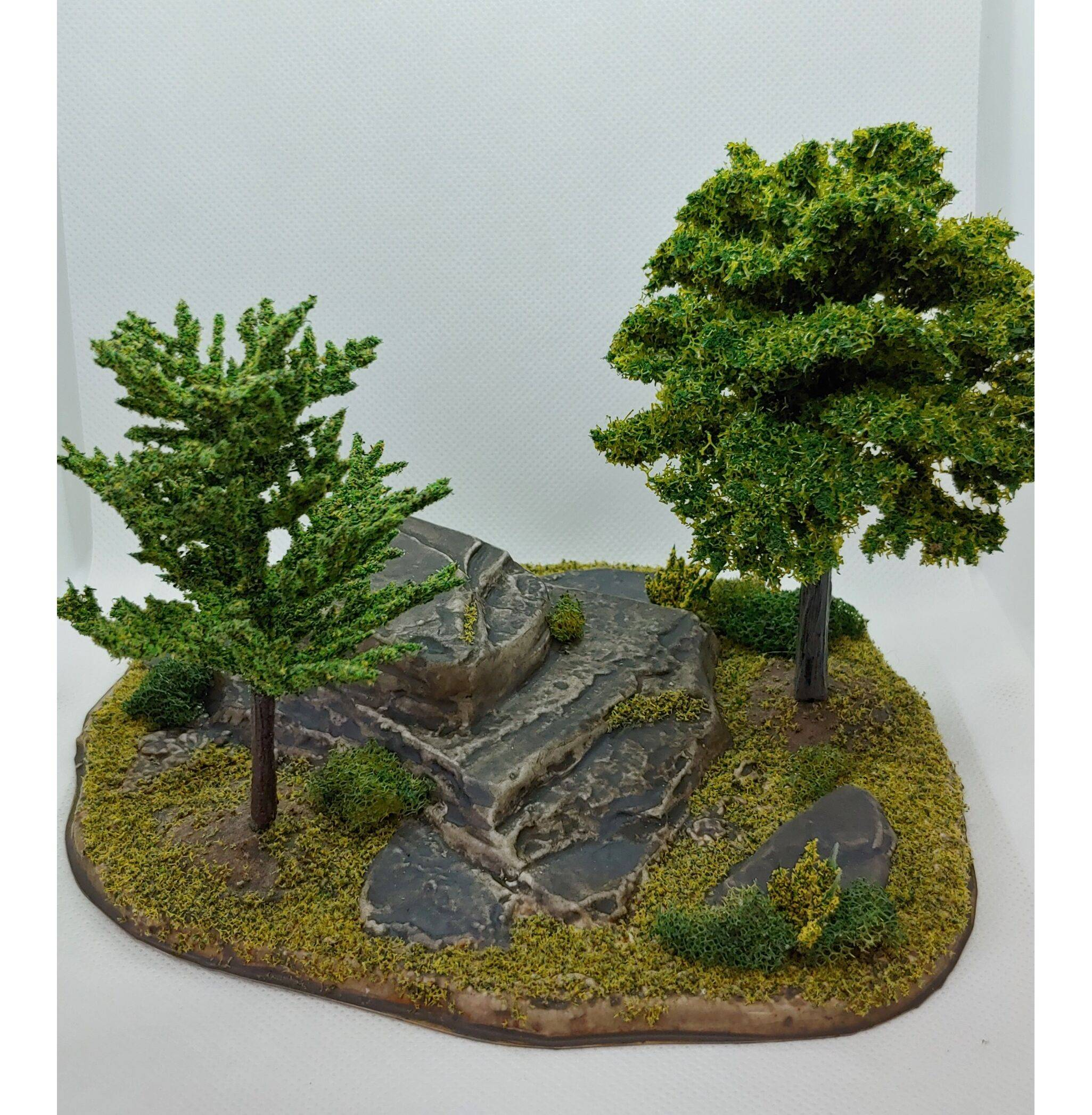 Wargaming Table top tree stand with rock and 2 tree spots #TTR-2