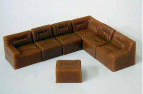 SOFA SECTIONAL 1:24 BROWN 7PC