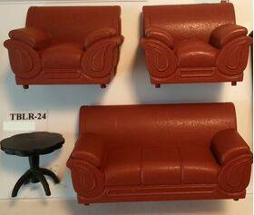SOFA & CHAIRS Set 1:24 WHITE 3PC HLS-24
