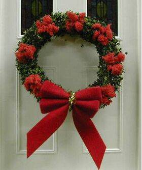 "WREATH 2"" dia.WITH RED BOW"